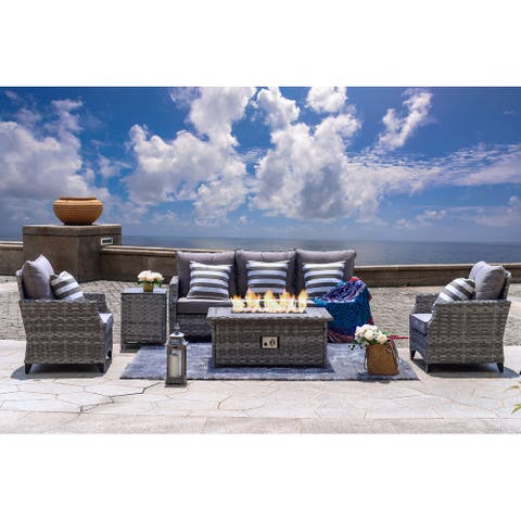 5 Pieces Chat Set With Gas Fire Pit Table by Moda Furnishings