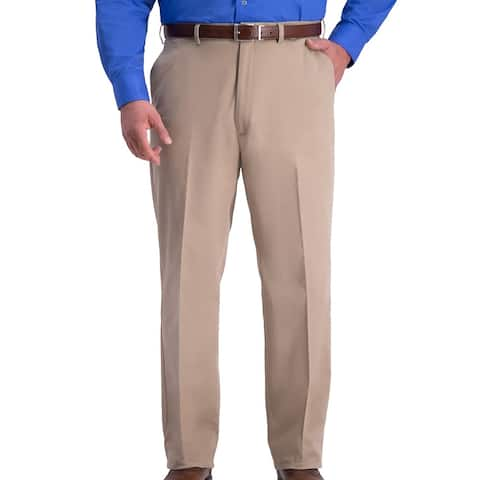 Haggar Mens Pants Beige Size 48x34 Big & Tall Relaxed Fit Flat-Front