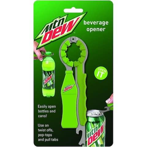 Mtn Dew Soda Pop Can and Beer Bottle Beverage Opener - Easy Twist Off Tops or Pull Tabs