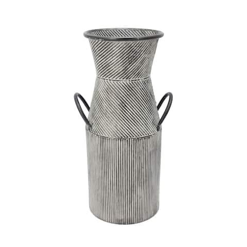 "Metal 17"" Deco Milk Jar W/ Handles, Black"