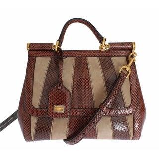 Dolce & Gabbana Purse SICILY Satchel Brown Beige Leather Snakeskin Handbag