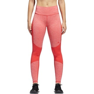 Adidas Womens Athletic Leggings Marled Mesh-Inset - L