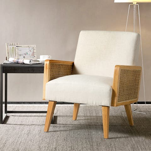 Delphine Upholstered Cane Accent Chair with Rattan Arms