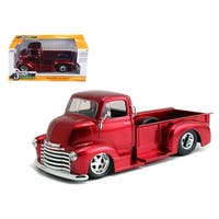 1952 Chevrolet COE Pickup Truck Red with Chrome Wheels 1/24 Diecast Model by Jada