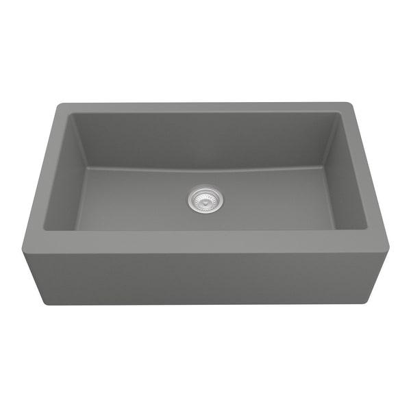 Karran Farmhouse/ Apron-front Quartz Single Bowl Kitchen Sink. Opens flyout.