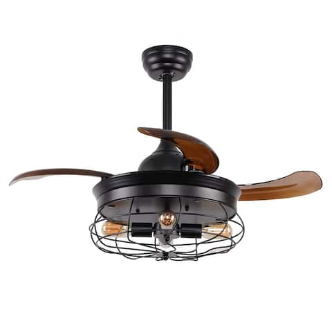 Industrial Foldable 4-Blades Black Iron 34-inch Ceiling Fan