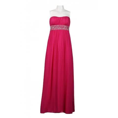 JS Boutique Strapless Empire Waist Bead Dress, Fuchsia, 14