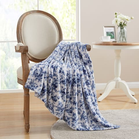 Asher Home Blue Cottage Floral 50 x 60 inches Plush Throw Blanket