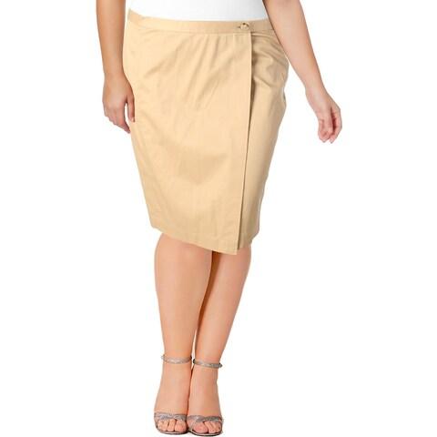 Lauren Ralph Lauren Womens Wrap Skirt Solid Twill