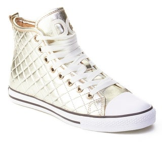 Dolce & Gabbana Women's Quilted Leather High Top Sneaker Shoes Gold (4 options available)