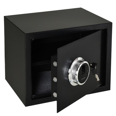 HOMCOM Steel Fingerprint 0.95 Cubic Feet Safe Box for Home or Office with 2 Emergency Keys and Removable Shelf