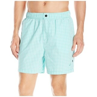 Nautica NEW Aqua Green White Mens Size XL Gingham Print Board Shorts