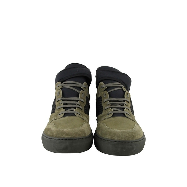 Olive Green Suede Leather Sneakers