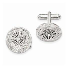 Silvertone Crystal Filigree Cuff Links