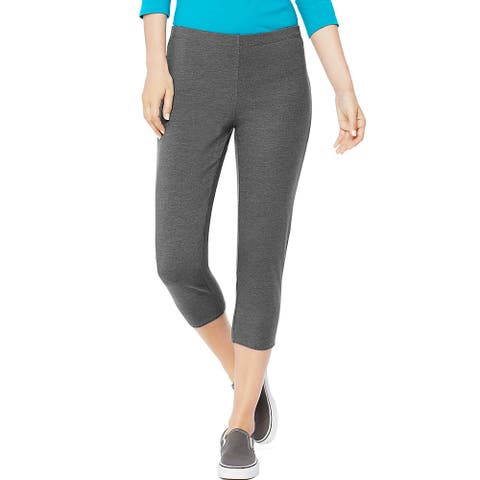 Hanes Women's Stretch Jersey Capri - Size - M - Color - Charcoal Heather