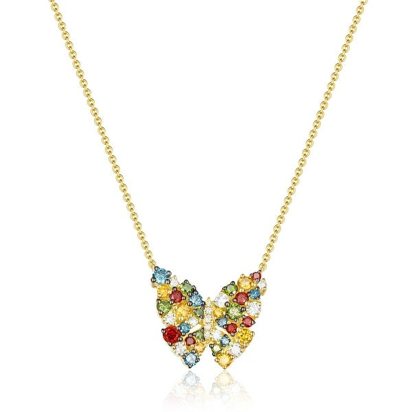 Butterfly Necklace, 1.15 TCW Round Cut G-H/SI1 Multi Color Diamond With White Diamond