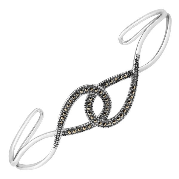 Interlocking Bangle Bracelet with Marcasite in Sterling Silver - Black