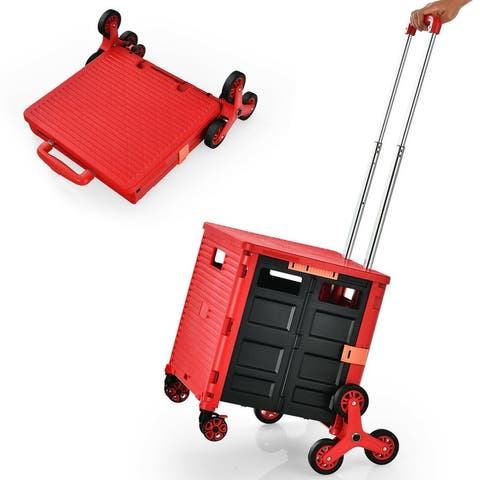 Gymax Foldable Utility Cart Telescoping Handle Trolley Travel Shopping Black/Red