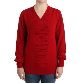 Costume National Red V-neck wool sweater