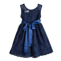 Think Pink Bows Girls Navy Embroidered Lace Lizzie Christmas Dress