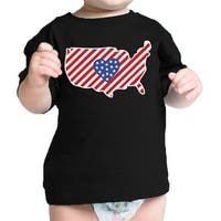 American Flag Pattern USA Map Cute Infant T-Shirt For Baby Shower