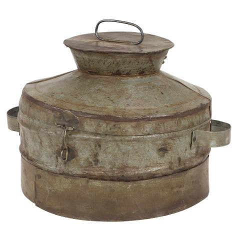 "Antique Style Metal Cooking Pot with Handles and Lid 15"" x 10"" - 15 x 14 x 10"