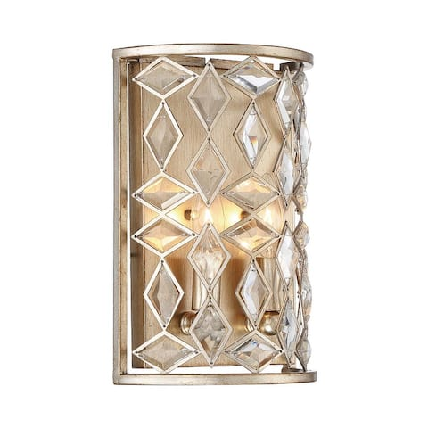 "Park Harbor PHWL3272 Cross Pointe 2 Light 12-1/4"" Tall Wall Sconce - Antique Silver Leaf"