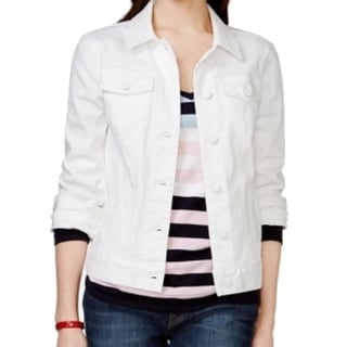 Tommy Hilfiger NEW White Women's Size Small S Button Front Jean Jacket