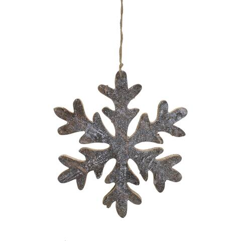 "10"" Metallic Silver and Gold Wooden Snowflake Christmas Wall Decor"