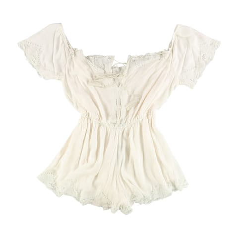 Free People Womens Romance Romper Jumpsuit, off-white, Medium