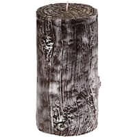 Pack of 4 Black and White Faux Wood Grain Decorative Pillar Candles 6""