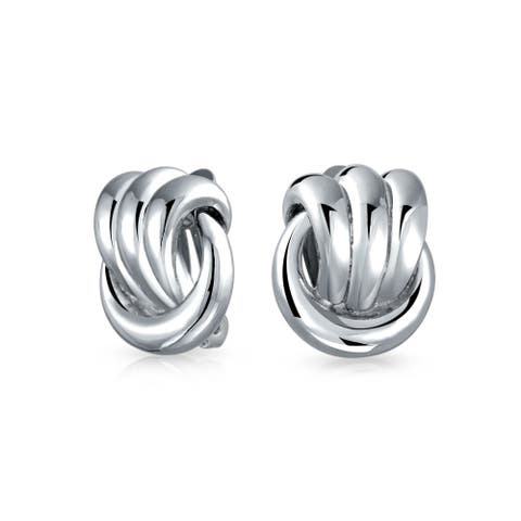 Rope Cable Knocker Love Knot Work Clip On Earring For Women Non Pierced Ears Shinny Silver Plated Brass