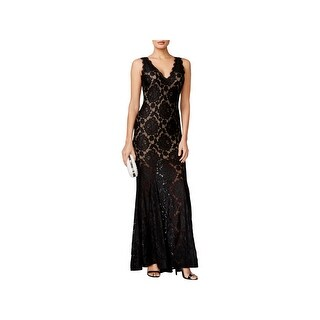 Betsy & Adam Womens Petites Evening Dress Lace Full-Length