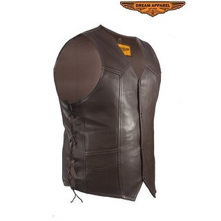 Mens Brown Leather Vest Size 40