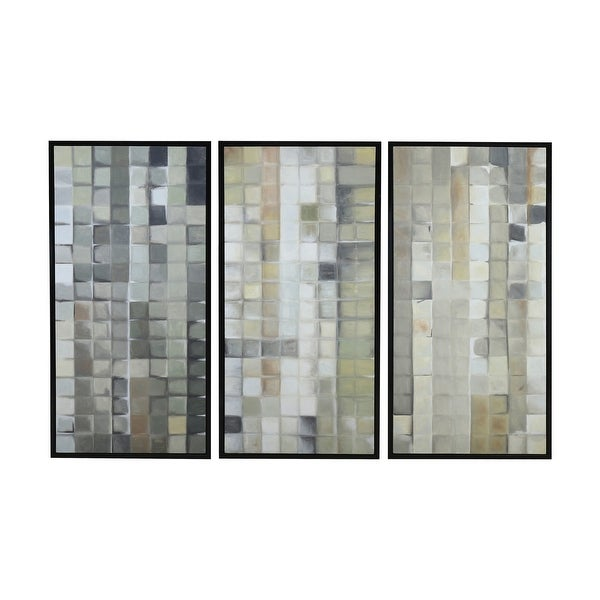 """Dimond Home 7011-1461/S3 Gray Tiles 50"""" x 24"""" Three Piece Framed Painting on Hand Stretched Canvas"""
