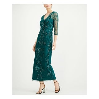 Link to ADRIANNA PAPELL Green 3/4 Sleeve Maxi Sheath Dress  Size 6P Similar Items in Petites