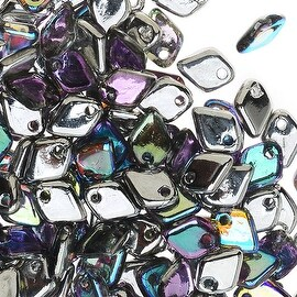 Czech Glass, Dragon Scale Beads 1.5x5mm, 9.5 Gram Tube, Silver Rainbow