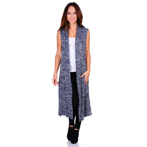 Simply Ravishing Hacci Knit 2-Tone Sleeveless Long Cardigan (Size: S-3X)