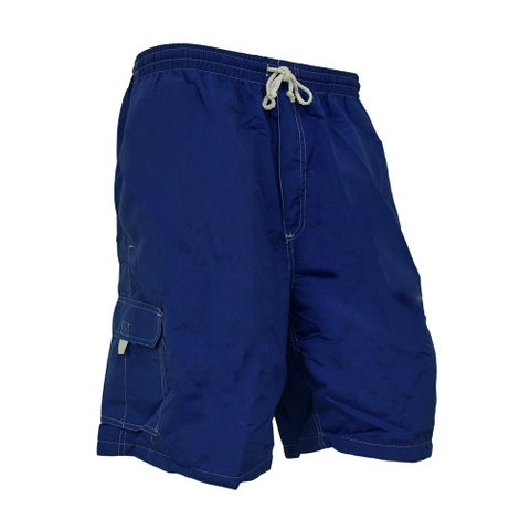 Mens Solid Color Fully Lined Classic Swim Trunks w/Contrast Stitching
