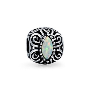 Bling Jewelry 925 Silver Synthetic Opal Filigree Butterfly Charm Bead