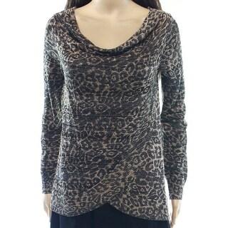INC NEW Brown Animal Print Metallic Women Small S Cowl Neck Sweater
