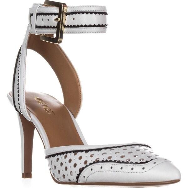 Nine West Calypso Ankle-Strap Dress Heels, White/Black
