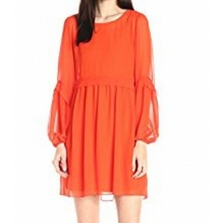 ERIN Erin Fetherston NEW Orange Womens Size 8 Chiffon Shift Dress