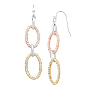 Drop Earrings with Cubic Zirconia in 14K Yellow & Rose Gold-Plated Sterling Silver - White