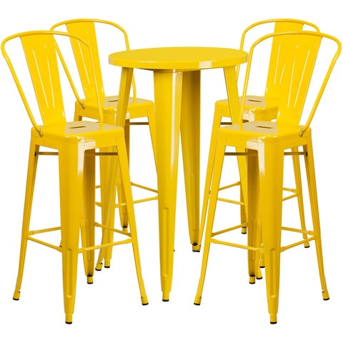 Brimmes 5pcs Round 24'' Yellow Metal Table w/4 Cafe Barstool