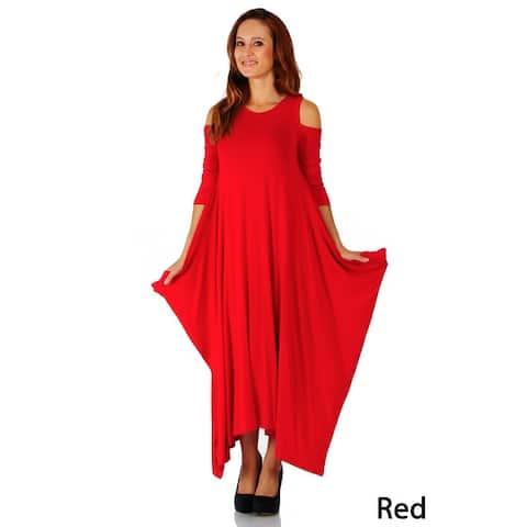 Simply Ravishing Maxi Boho Harem Cold Shoulder 3/4 Sleeve Dress (Size: S-5X)