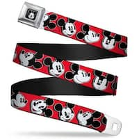 Mickey Mouse Winking Full Color Black Mickey Mouse Expressions Red Black Seatbelt Belt