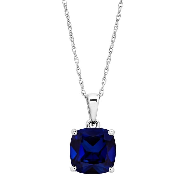 2 7/8 ct Created Sapphire Solitaire Pendant in 14K White Gold