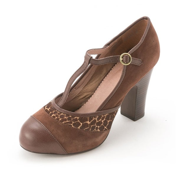 Fossil Womens JACKLYN Suede Closed Toe T-Strap Mary Jane Pumps - 10