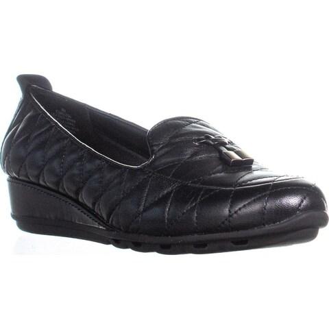 Easy Spriit Belesa Low Heel Comfort Wedges, Black/Black Leather - 8 us